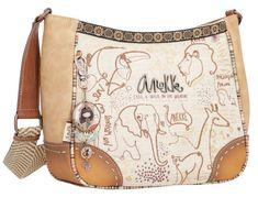 Schultertasche Kenya Safari Fusion Anekke beige Stickerei Tiere Bucket Bag, Clutch, Saddle Bags, Safari, Style, Fashion, Laptop Tote, Cinch Bag, Artificial Leather