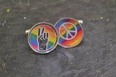 PEACE  Cufflinks  GAY Rainbow Cuff Links Silver Plate