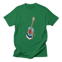 Guitarget - A guitar that's also an archery target, with an arrow breaking one of the strings.
