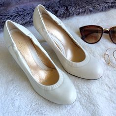"""Nude pumps Nude pumps. Approximately 3.5"""" heel. In great condition. Only worn a few times. Bought in Japan. European size 35. Has a little elasticity on the side for a fitted design. I also added gel pads on the back so it doesn't rub against the back of your foot. Shoes Heels"""