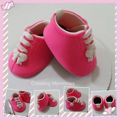 Baby Girl Shoes Cake Topper Made of Vanilla Fondant ready to place on your cake or table center piece Any color to match your theme