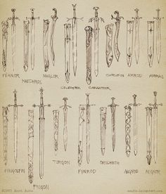 Sketch: Noldorin swords by aautio.deviantart.com on @deviantART. Aredhel and Galadriel's swords are missing! Okay, it's not known if Aredhel did have a sword (she was an archer and hunter, though), but Galadriel must have had one, because she fought on several occasions!