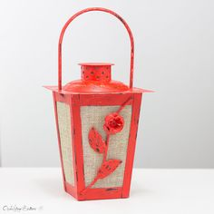 Vintage Style Coral Red Wedding Candle Lantern Centerpiece, Shabby Chic Hanging Lantern, Bohemian Decor, Metal Candle Holder #handmade #openvintageshutters