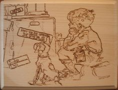 """""""Not To Be Opened Until Christmas"""" • Pyrography on basswood • © 2009 Original Sean Connolly pyrographic artwork."""