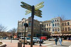 Ashville, North Carolina. Main Street Artsy! Art gallery, textiles, food.