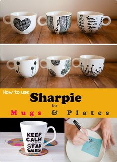 DIY Sharpie Crafts and Gifts: #14 Sharpie Mugs and Plates. Collection of 14 Sharpie mugs and plates for personalized gift ideas. Valentines day, Fathers day and mothers day sharpie gift ideas.
