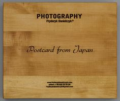 Postcard from Japan.  The work is protected by a box (35cm x 29,5cm x 5,5cm) made of maple wood, 8-12% humidity. It is finished off with matt oil made with natural Chinese oils. The title is lasered on the front of the box and the letters are filled with liquid asphalt. Each photograph is wrapped in clear plastic. The set is complete with cotton gloves.  www.fryderykdanielczyk.com