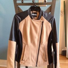 Moto jacket Express minus the leather jacket camel and black camel part is cotton . Express Jackets & Coats