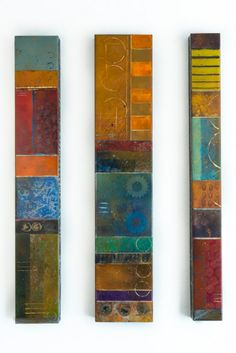Steel panels with metal stains, dyes and patinas.