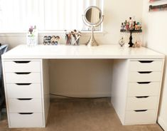 DIY Makeup Vanity with IKEA Pieces. diy makeup vanity with IKEA. With an ever-growing makeup collection, I needed to find a major storage solution for it. So, I went with this DIY makeup vanity using IKEA pieces. Diy Makeup Vanity Ikea, Ikea Makeup Storage, White Makeup Vanity, Makeup Table Vanity, Makeup Vanity With Storage, Makeup Vanity In Bedroom, Makeup Table Ikea, Dyi Vanity, Makeup Vanity Organization