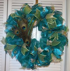 Peacock Decor Mesh Wreath with Feathers Door Wall Decor www.facebook.com/JKatsKreations