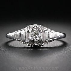 18K White Gold Art Deco Solitaire Diamond Engagement Ring