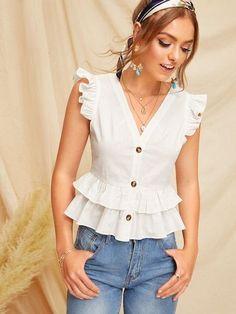 Shein Button Through Tiered Ruffle Peplum Top Cute Blouses, Blouses For Women, Women's Blouses, Ladies Blouses, Blouse Styles, Blouse Designs, Look Star, Mode Chic, Raglan