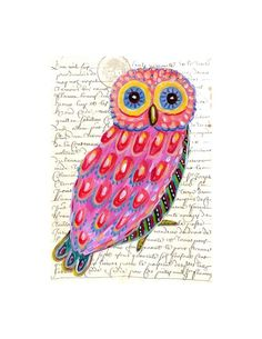 Whimsical Owl Painting art collage print by irinashop on Etsy, $20.00