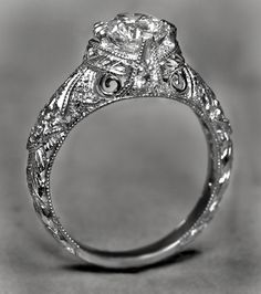 Hand Crafted Custom Antique Ring - Fine Engraving by Diamond Zone | CustomMade.com Wow!