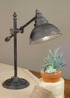 Adjustable Swing-Arm Task Lamp Item diameter base and about tall when extended fully upright. Lamp arm is adjustable and measures long. Farmhouse Lamps, Farmhouse Lighting, Farmhouse Style, Rustic Farmhouse, Primitive Lighting, Farmhouse Office, Industrial Farmhouse, Rustic Style, Rustic Desk