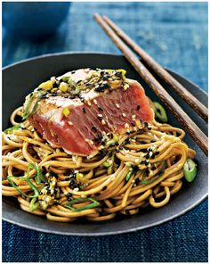 """Soba noodles colored and flavored with green tea, known as cha soba, make a unique presentation, and the contrasting color of the rare pink tuna makes this dish a memorable one. As the tuna is just lightly seared and not fully cooked, make sure to purchase tuna labeled """"sushi grade"""" from a trusted fishmonger or …"""