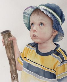 Watercolor portrait by Jan Riggins Watercolor Portraits, Portrait Art, Art Boards, My Arts, Hats, Beautiful, Hat, Hipster Hat