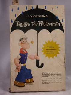 Vintage 1959 Popeye The Weatherman Cartoon Kit By Colorforms Toy Made In 1959 Kit # 117.There Are A Few Peaces Missing And The Box Is In Poor Condition.