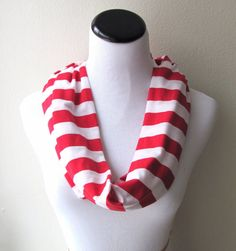 Red Scarf Red Infinity Scarf. Red Striped by AnyarwotStyle on Etsy, $15.00