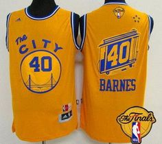 Men s Golden State Warriors  40 Harrison Barnes Retro Yellow 2016 The NBA  Finals Patch Jersey 1d309b76f