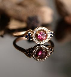 Tourmaline Unique Vintage Inspired Engagement Ring
