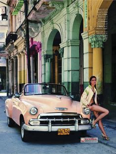 'Havana Summer' Sara Sampaio by Xavi Gordo for Elle Spain June 2012 [Editorial] Sara Sampaio, Mario Testino, Cuban Cars, Cuba Fashion, Old American Cars, Havana Nights, Provocateur, Cuba Travel, Havana Cuba