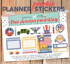 Free Printable Memorial Day Planner Stickers – good for Memorial Day and 4th of July - Dorky Doodles