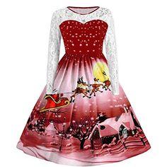 ZIYOU Weihnachtskleid Damen Langarm Spitzenkleid Retro Weihnachten Santa Drucken  Partykleid Festliche Kleider A-Linie Swing Kleid Damen Abendkleider ... 32956b5687