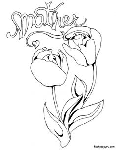 Printable Flowers Red Roses For Sweet Mothers Day Coloring Page