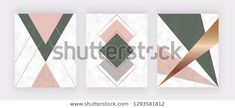 Modern Geometric Marble Design Golden Lines Stock Vector (Royalty Free) 1293581812 Fashion Background, Scandinavian Art, Hexagon Shape, Textured Background, Pink And Green, Marble, Royalty Free Stock Photos, Banner, Loft