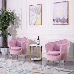 Unwind after a long day in this comfortable shell barrel chair, which will make a wonderful accent in your home. Vertical channel tufting on the back with scalloped edge creates artful elegance and brings a bit of a modern touch. While foam padded se Blue Velvet Accent Chair, Accent Chairs, Pink Velvet, Bed Furniture, Living Room Furniture, Modern Furniture, Chair Pillow, Pillows, Salon Interior Design