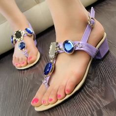 Lovely PU Low Heel Rhinestone Purple Sandals