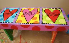 This is a sweet little bench I painted for someone's garden.  Dreaming Bear Designs Dori Patrick