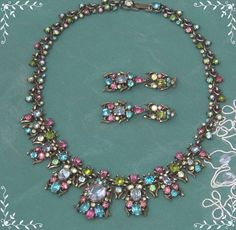 Vintage Signed Hollycraft Corp 1950 NECKLACE EARRINGS Set Rhinestone #HollycraftCorp1950