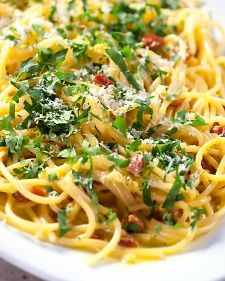 Spaghetti alla Carbonara, 2nd Pasta Sauce by Martha's Cooking School. The video is here:  http://www.kpbs.org/news/2013/may/10/martha-stewarts-cooking-school-pasta-sauces/