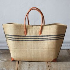 Striped Raffia Beach Tote, Large ($68) ❤ liked on Polyvore featuring natural