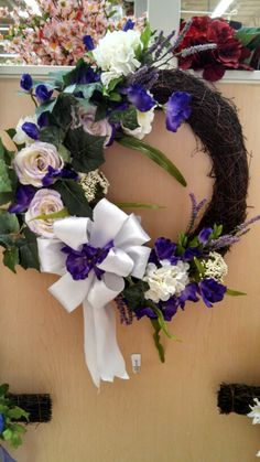 Kayla@michaels lisbon ct purple and white spring wreath