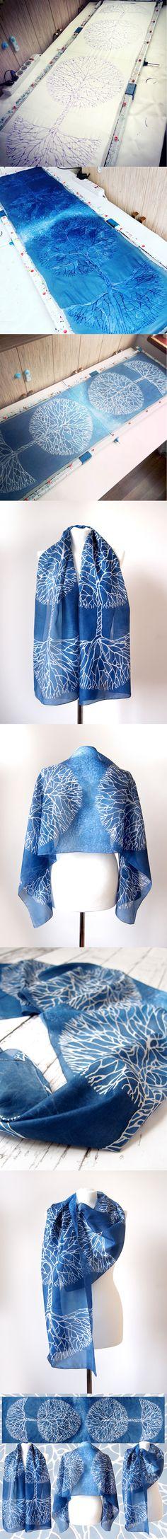 White Trees on a navy blue scarf! #silkscarf #navyscarf #navy #navyblue #minkulul #treescarf #silk #paintingonsilk