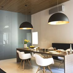 Leasing Office inspiration - glass wall | wood ceiling | large pendant