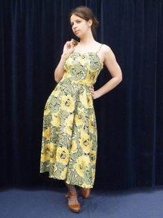 1980's set 80's dress Christine Laure Vintage dress and vest green yellow floral print sundress Hawaii summer dress • medium by GypsySoulVTGboutique on Etsy