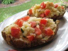 Twice Baked Potatoes With Mozzarella, Tomato and Basil