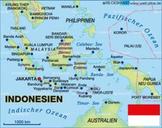 Geographical online map of Indonesia - political or physical - with further information. Road maps and region maps with cities, countries, states, rivers, mountains, lakes, areas, places of intrest and much more - World Atlas