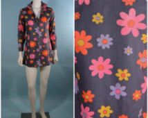 Vintage 60s MOD Floral Micro Mini Dress/ Mock Turtleneck Zip Front Tunic/Penny Lane Rocker Hipster Grunge/ Music Festival Disco Mini XS