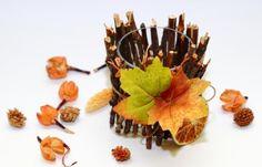 glas kerzenhalter dekorieren zweige blätter orange trocken