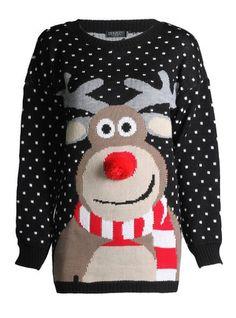 Fast Fashion Damen Unisex Rudolph Drucken 3D Nase Pom Pom Weihnachts Pullover                                                                                                                                                                                 Mehr