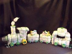 Diaper Cake Train Baby Shower Gift Centerpiece | eBay
