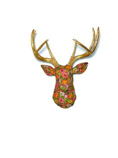 Faux Fabric Deer Head Wall Mount - Vibrant Floral Arrangement - Faux Gold Painted Antlers - FAD2008 by NearAndDeer on Etsy https://www.etsy.com/listing/152744182/faux-fabric-deer-head-wall-mount-vibrant