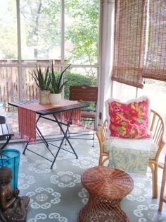 Painted rug on concrete floor - this would be a great idea to do on the porch!