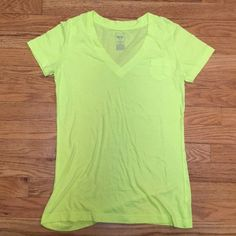 v-neck Neon yellow v-neck from Mossimo. Used but still in great condition. ❌NO TRADES❌ Don't like the price? Make an offer! Mossimo Supply Co Tops Tees - Short Sleeve